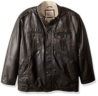 Levi's Men's Vintage Deer Faux Leather Sherpa Military Jacket