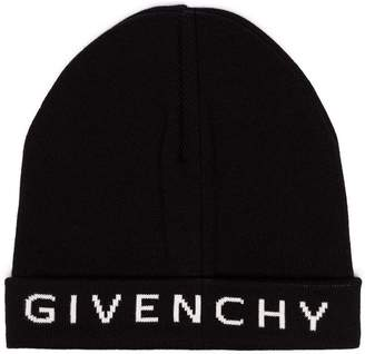 ada569888e8 Givenchy black and white logo cashmere and cotton beanie