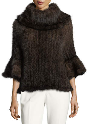 Adrienne Landau Knit Fur Bell-Sleeve Poncho, Brown