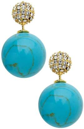 Sterling Forever Turquoise & CZ Cluster Double Sided Stud Earrings