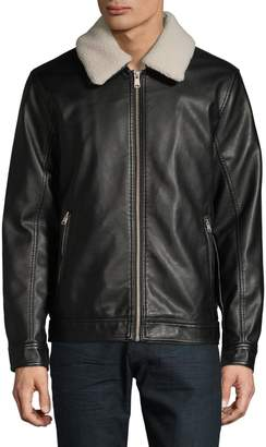 Tommy Hilfiger Faux Shearling-Lined Faux Leather Jacket