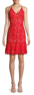 WAYF Floral Lace V-Neck Dress