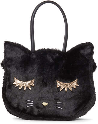 Betsey Johnson Luv Betsey By Black Kitsch Faux Fur Cat Tote
