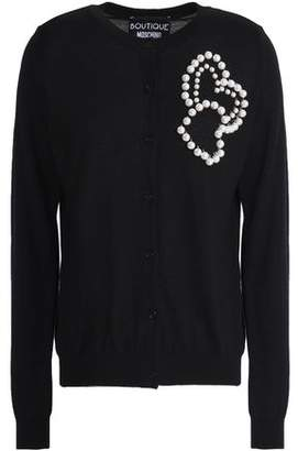 Moschino Faux Pearl-Embellished Wool And Cotton-Blend Cardigan