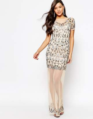 Missguided Premium Floral Embellished Mesh Maxi Dress