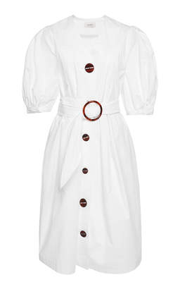 Belted Poplin Button-Down Dress