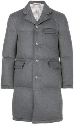 Thom Browne Tonal Grosgrain Down-Filled Classic Cashmere Chesterfield Overcoat