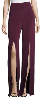 Cushnie et Ochs Slit-Front Crepe High-Waist Pants