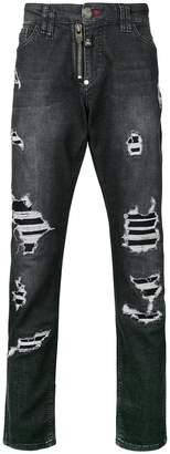 Philipp Plein ripped straight leg jeans