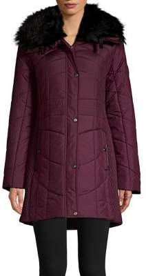 Weatherproof Faux-Fur Trim Smocked & Quilted Walker Coat