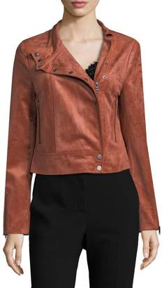 BCBGMAXAZRIA Women's Faux Suede Moto Jacket