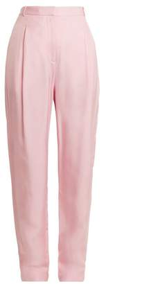 Tibi Sculpted High Rise Pleated Faille Trousers - Womens - Light Pink