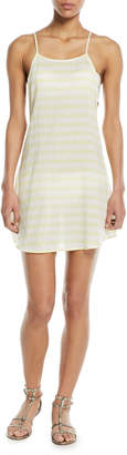 Onia Sasha Open-Back Striped Mini Coverup Sun Dress