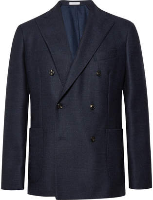 Boglioli Navy Slim-Fit Double-Breasted Virgin Wool Blazer
