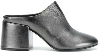 closed toe leather mules