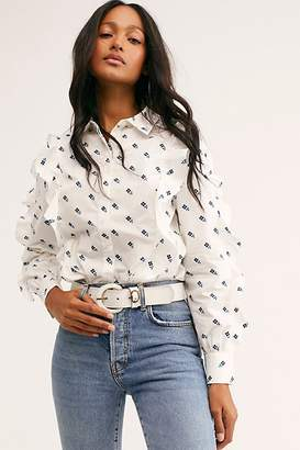 Free People Clean Cotton Ruffled Shirt