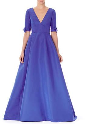 Carolina Herrera V-Neck Bow-Cuff Silk Gown