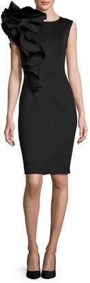 Jovani Sleeveless Ruffle-Trim Crepe Sheath Dress, Black