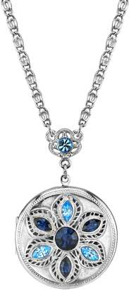 1928 Jewelry Silver Tone Blue Round Crystal Locket Necklace