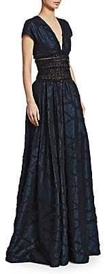 Naeem Khan Women's Metallic Embroidered-Waist Ball Gown