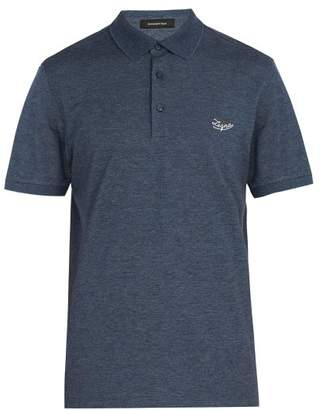 Ermenegildo Zegna Logo Embroidered Cotton Polo Shirt - Mens - Blue