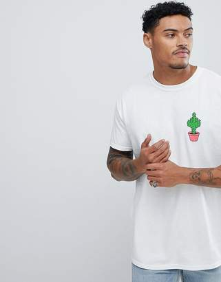 New Love Club Oversized Cheeky Cactus Chest Print T-Shirt