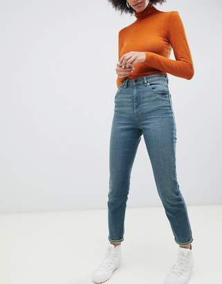Asos DESIGN Recycled Farleigh high waist slim mom jeans in mid green blue tone wash