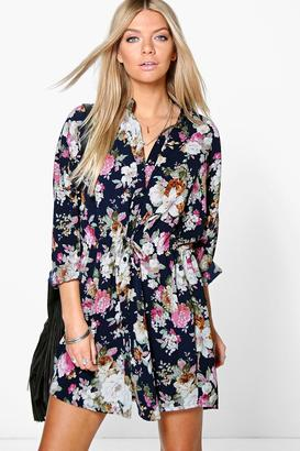 boohoo Lilith Floral Print Shirt Dress