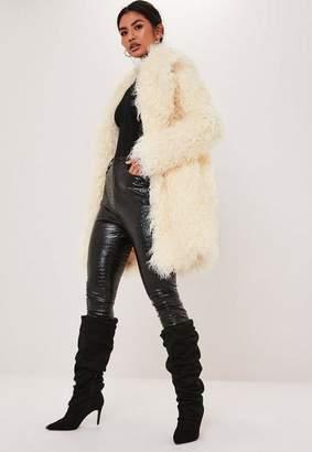 Missguided Premium White Shaggy Faux Mongolian Fur Coat