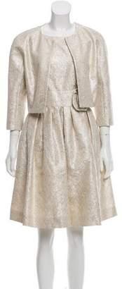 Paule Ka Metallic Embroidered Sleeveless Dress Set