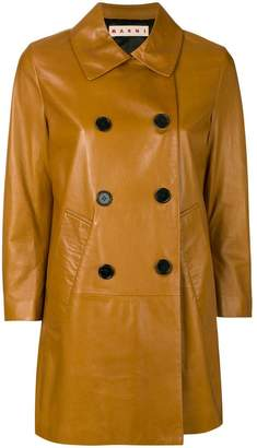 Marni leather pea coat