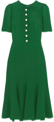 Dolce & Gabbana - Georgette-trimmed Crepe Midi Dress - Emerald $2,675 thestylecure.com