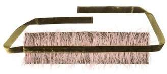Josie Natori Stretch Twill Belt With Feathers
