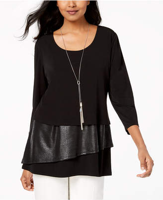 JM Collection Petite Faux-Leather Layered Necklace Top