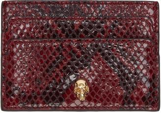 Alexander McQueen Burgundy Python-Embossed Card Holder $195 thestylecure.com
