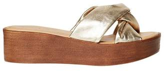 Dorothy Perkins Gold Leather 'Rio' Comfort Wedges