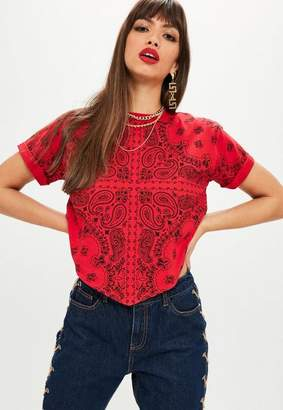 Missguided Tall Red Printed Handkerchief T-shirt