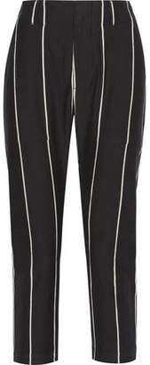 Brunello Cucinelli Cropped Striped Cotton Tapered Pants