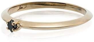 Black Diamond Lizzie Mandler Fine Jewelry Princess-cut and 18K yellow gold ring