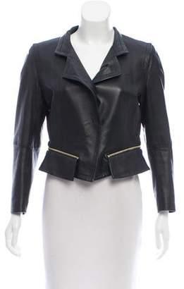Paule Ka Zipper-Accented Leather Jacket