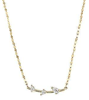 Lana Women's Diamond Trio & 14K Gold Bar Necklace