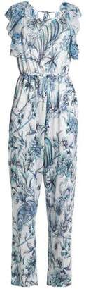 Just Cavalli Open-Back Ruffle-Trimmed Printed Linen-Blend Jumpsuit