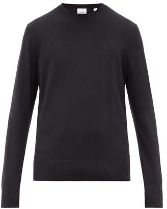 Burberry Embroidered Tb Monogram Cashmere Sweater - Mens - Black
