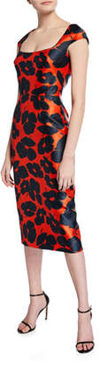 Lela Rose Floral-Print Mikado Sheath Dress