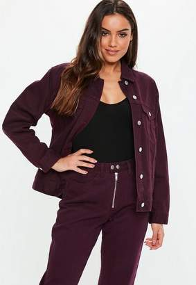 Missguided Burgundy Denim Oversized Boyfriend Co-Ord Jacket