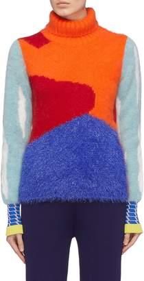i-am-chen Graphic intarsia mix knit turtleneck sweater