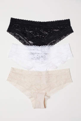 H&M 3-pack Lace Hipster Briefs - Black