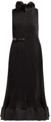 Tibi Belted Plisse Midi Dress - Womens - Black