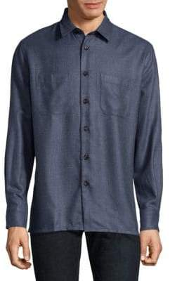 Luciano Barbera Textured Silk& Wool Button-Down Shirt