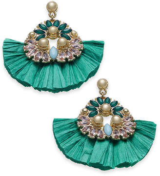 INC International Concepts I.n.c. Gold-Tone Stone & Raffia Fan Drop Earrings, Created for Macy's